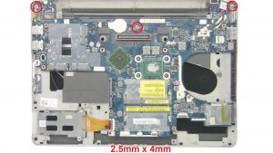 Unscrew and disconnect Motherboard (3 x