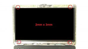 Unscrew and turn over screen (4 x M2 x 3mm).