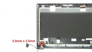 Unscrew and remove left Hinge (3 x M2.5 x 2.5mm wafer)(1 x