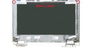 Unscrew and remove Display Hinges (2 x M2 x 3mm)(4 x