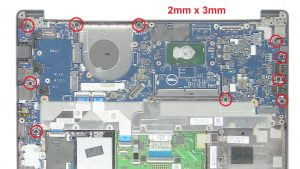 Unscrew and disconnect Motherboard (10 x
