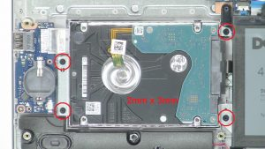 Unscrew and disconnect Hard Drive (4 x