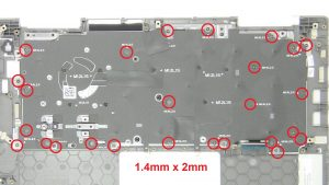 Unscrew and remove keyboard bracket (26 X 1.4mm x 2mm).