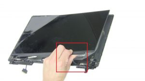 Use fingers to peel apart and turn over screen.