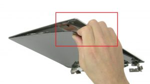 Use fingers to separate and turn over screen.