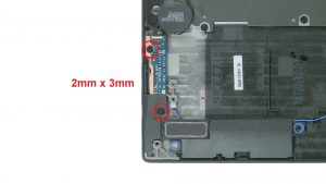 Unscrew and disconnect Power Button Board (2 x