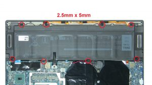 Unscrew and disconnect battery (2.5mm x 5mm).