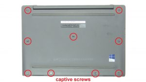 Remove bottom base screws (captive screws).