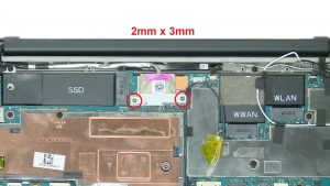 Unscrew and remove bracket (2 x M2 x 3mm).