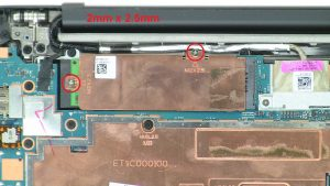 Unscrew then remove bracket and M.2 SSD (2 X 2mm x 2.5mm).