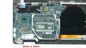 Unscrew and remove motherboard (2 x M2 x 3mm).