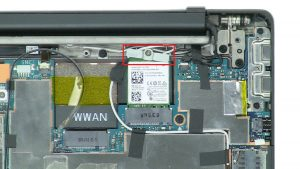 Disconnect antenna cable and remove WLAN Card.