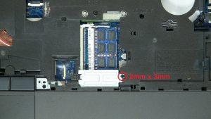 Unscrew and remove memory shield (1 x M2 x 3mm).
