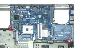 Unscrew and disconnect Motherboard (2 x
