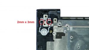Unscrew and remove power button (2 x M2 x 3mm).