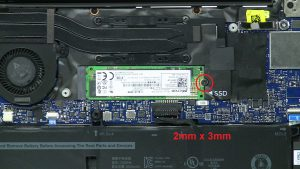 Unscrew and remove M.2 SSD (1 x M2 x 3mm).