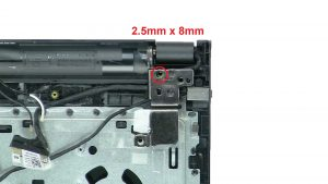 Unscrew and lift right hinge (1 x M2.5 x 8mm).
