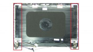Unscrew and remove Display Hinges (4 x M2.5 x 2.5mm wafer).