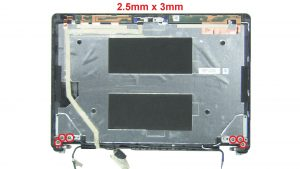 Unscrew and remove Display Hinges (6 x M2.5 x 3mm).