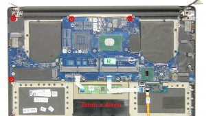 Remove the 5 - M2 x 4mm motherboard screws.