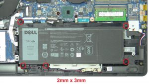 Unscrew and disconnect Battery (5 x