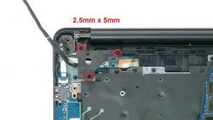 Unscrew and lift left hinge (3 x M2.5 x 5mm).
