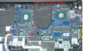 Unscrew and remove Motherboard (4 x M2.5 x 2.5mm wafer).