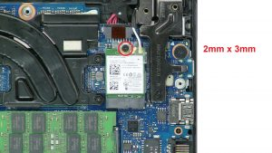 Unscrew and disconnect WLAN Card (1 x