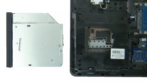 Unscrew and slide out DVD Drive (1 x