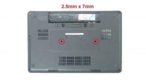 Remove keyboard screws (2 x M2.5 x 7mm) (4 x