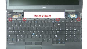 Remove keyboard screws (2 x M2.5 x 7mm) (4 x