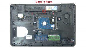 Remove keyboard trim screw (1 x M2.5 x 5mm).