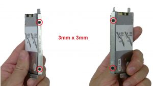 Unscrew and remove caddy (4 x M3 x 3mm).