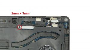 Unscrew bracket and disconnect display cable (1 x M2 x 3mm).