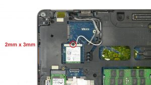 Unscrew then remove bracket and WLAN Card (1 x
