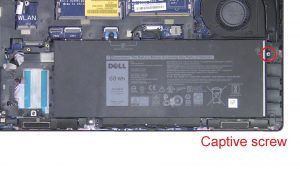 Unscrew and disconnect Battery (1 X captive screw).