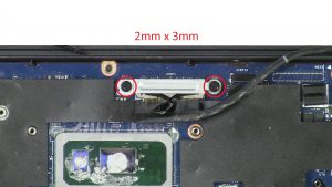 Unscrew bracket then disconnect display cable (2 x M2 x 3mm).