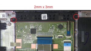 Unscrew and disconnect Mouse Buttons (2 x M2 x 3mm).