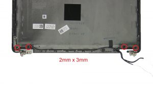 Unscrew and remove Display Hinges (4 x M2 x 3mm).