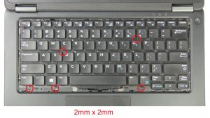 Unscrew and disconnect Keyboard (5 x