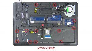 Unscrew and disconnect Palmrest (12 x M2 x 3mm)(13 x