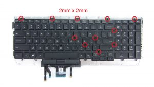 Unscrew and remove keyboard bracket (12 x M2 x 2mm).