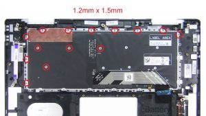 Unscrew and remove Keyboard (14 x 1.4mm x 2mm) (14 x 1.2mm x 1.5).