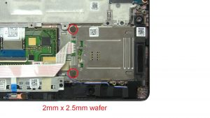 Unscrew and disconnect Smart Card Reader (2 x M2 x 2mm wafer).