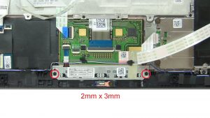 Unscrew and remove Touchpad Buttons (2 x M2 x 3mm).
