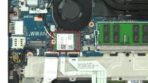 Unscrew bracket and disconnect WLAN Card (2 x