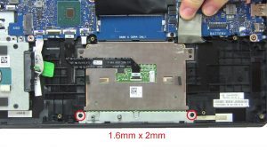 Unscrew and disconnect Touchpad (2 x 1.6mm x 2mm) (2 x