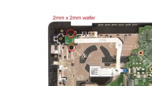 Unscrew and disconnect Power Button Board (2 x M2 x 2mm wafer).