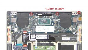 Unscrew and remove Motherboard (3 x M1.2 x 2mm) (4 x M1.6 x 1.5mm) (4 x M1.4 x 4mm).